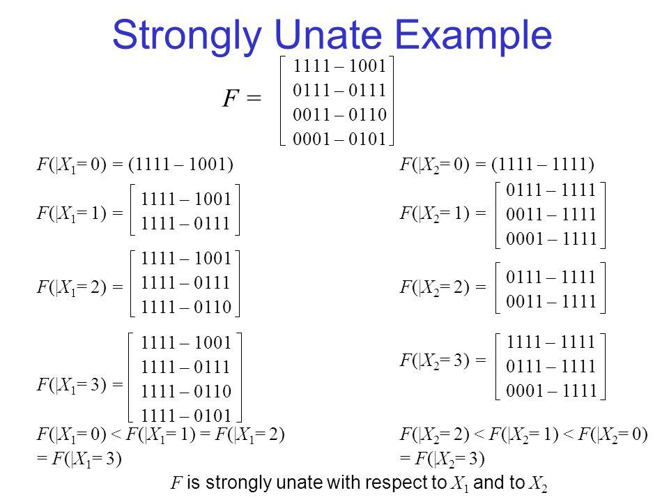Strongly Unate Example F(|X 1 = 0) = (1111 – 1001) F(|X 1 = 1) = F(|X 1 = 2) = F(|X 1 = 3) = F(|X 1 = 0) < F(|X 1 = 1) = F(|X 1 = 2) = F(|X 1 = 3) F is strongly unate with respect to X 1 and to X 2 1111 – 1001 0111 – 0111 0011 – 0110 0001 – 0101 F =F = 1111 – 1001 1111 – 0111 1111 – 1001 1111 – 0111 1111 – 0110 1111 – 1001 1111 – 0111 1111 – 0110 1111 – 0101 F(|X 2 = 0) = (1111 – 1111) F(|X 2 = 1) = F(|X 2 = 2) = F(|X 2 = 3) = F(|X 2 = 2) < F(|X 2 = 1) < F(|X 2 = 0) = F(|X 2 = 3) 0111 – 1111 0011 – 1111 0001 – 1111 0111 – 1111 0011 – 1111 1111 – 1111 0111 – 1111 0001 – 1111