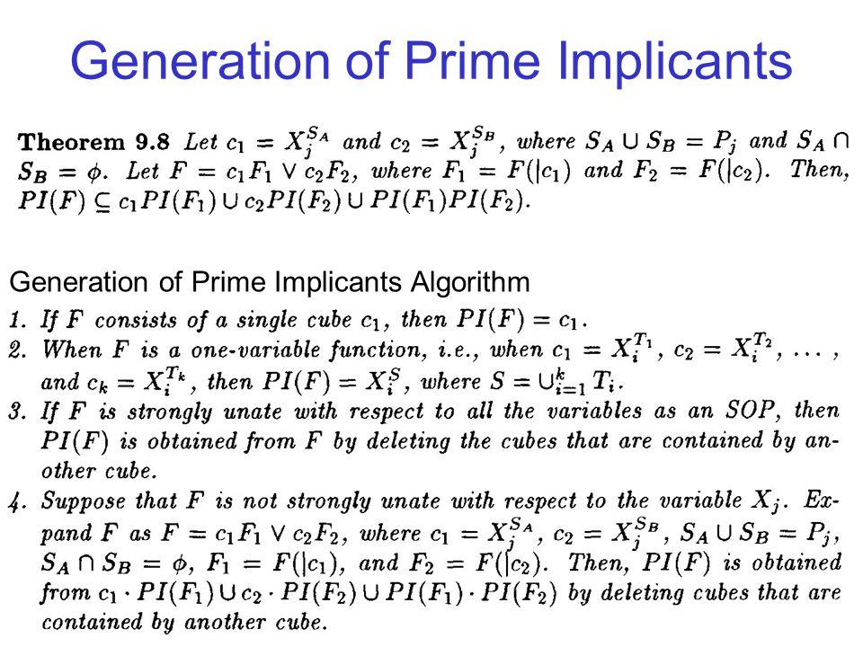 Generation of Prime Implicants Generation of Prime Implicants Algorithm