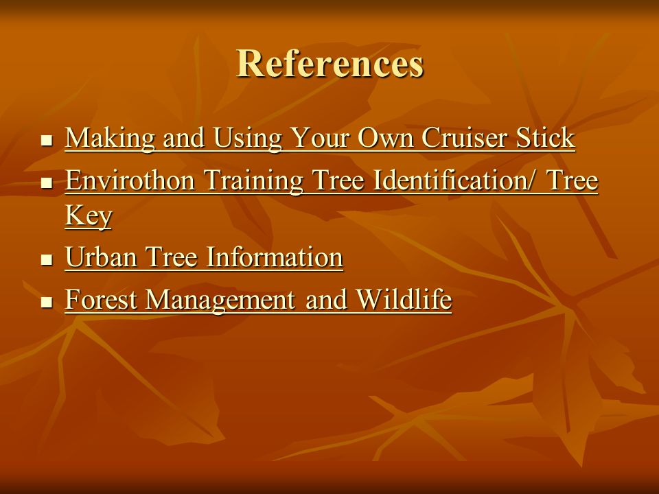 References Making and Using Your Own Cruiser Stick Making and Using Your Own Cruiser Stick Making and Using Your Own Cruiser Stick Making and Using Your Own Cruiser Stick Envirothon Training Tree Identification/ Tree Key Envirothon Training Tree Identification/ Tree Key Envirothon Training Tree Identification/ Tree Key Envirothon Training Tree Identification/ Tree Key Urban Tree Information Urban Tree Information Urban Tree Information Urban Tree Information Forest Management and Wildlife Forest Management and Wildlife Forest Management and Wildlife Forest Management and Wildlife
