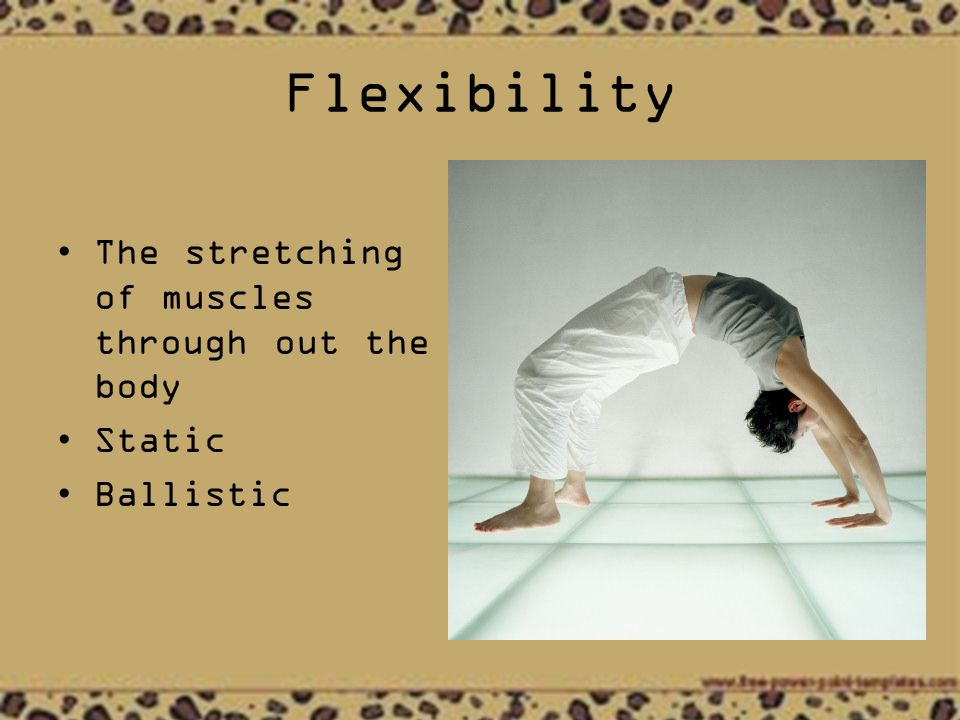 Flexibility The stretching of muscles through out the body Static Ballistic
