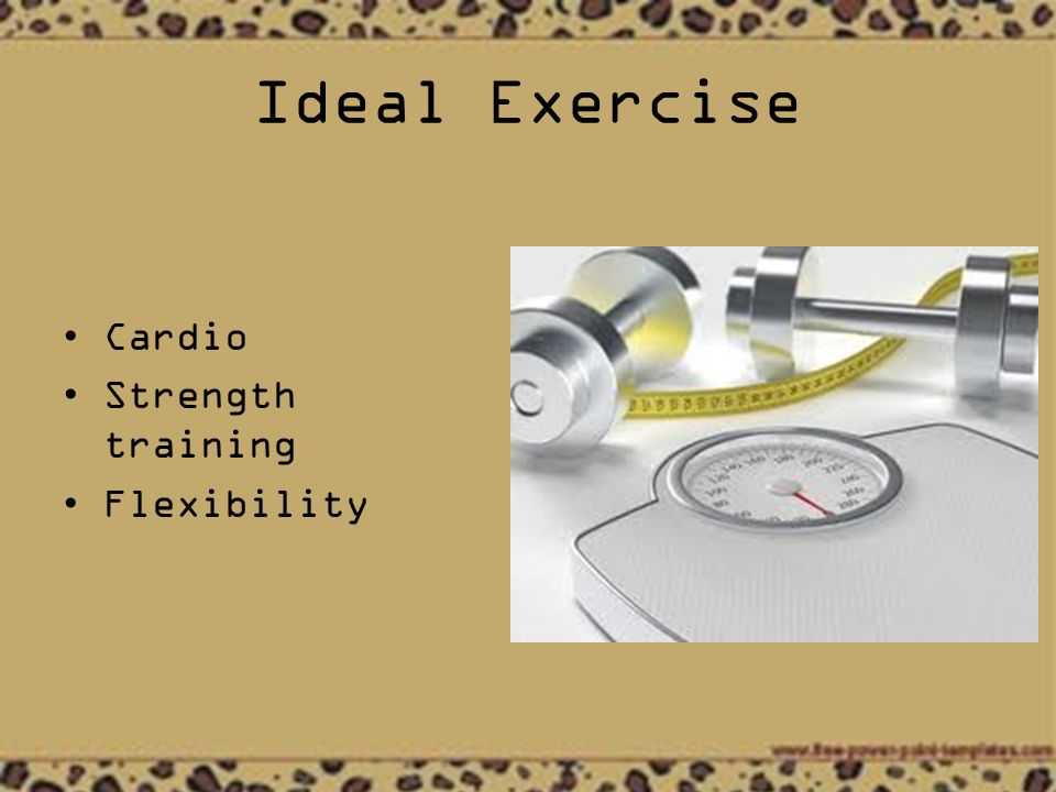 Ideal Exercise Cardio Strength training Flexibility