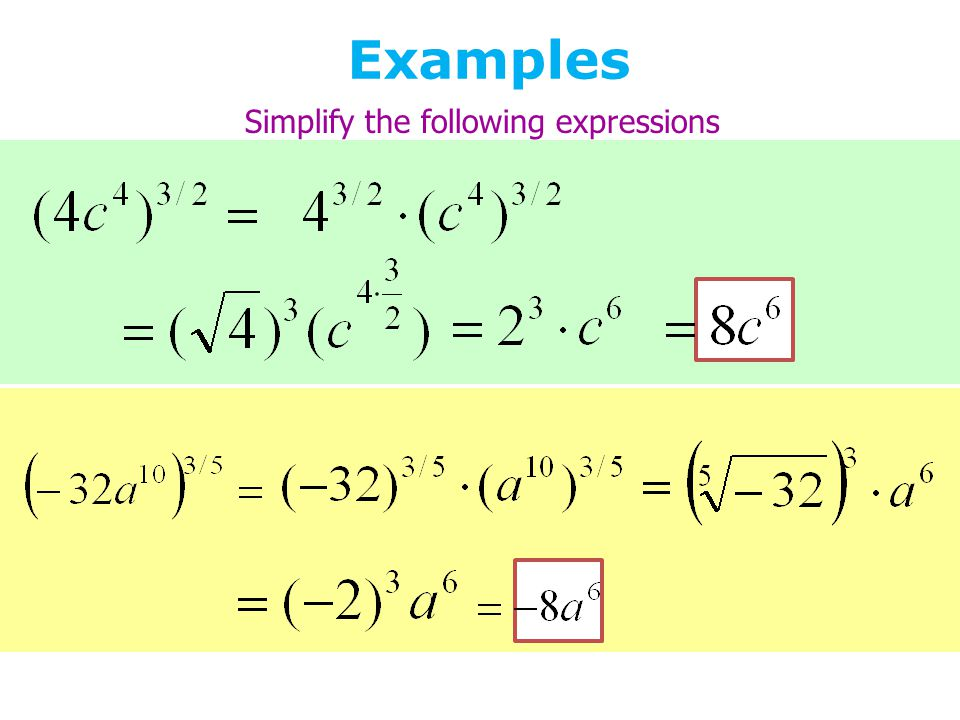 Examples Simplify the following expressions