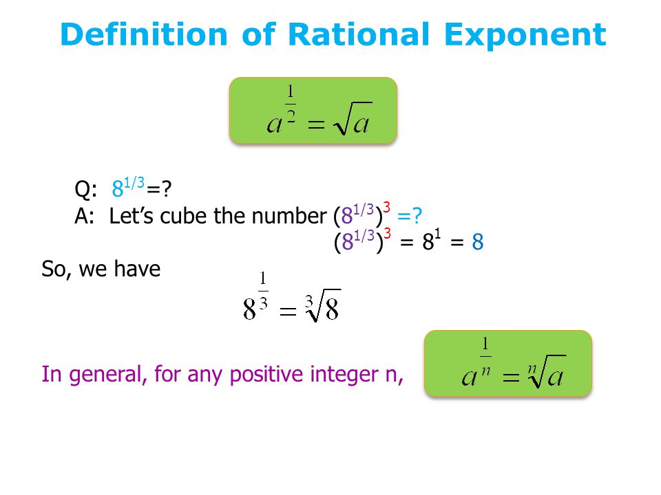 Definition of Rational Exponent Q: 8 1/3 =. A: Let's cube the number (8 1/3 ) 3 =.