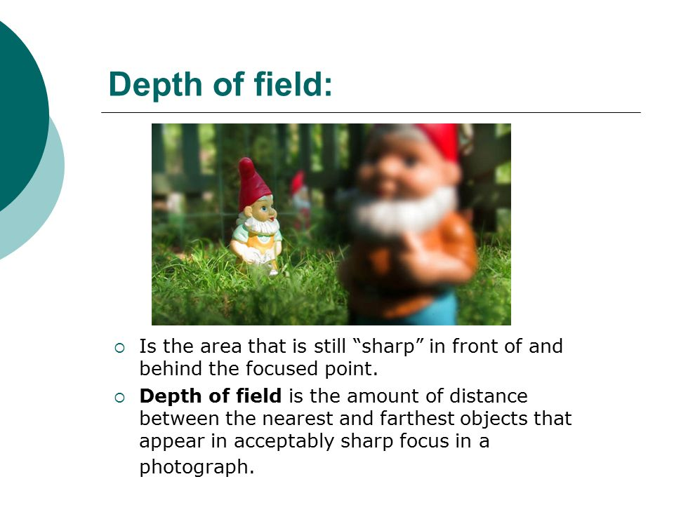 Depth of field:  Is the area that is still sharp in front of and behind the focused point.