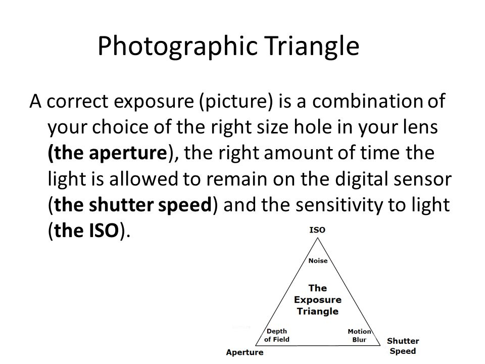 Photographic Triangle A correct exposure (picture) is a combination of your choice of the right size hole in your lens (the aperture), the right amount of time the light is allowed to remain on the digital sensor (the shutter speed) and the sensitivity to light (the ISO).