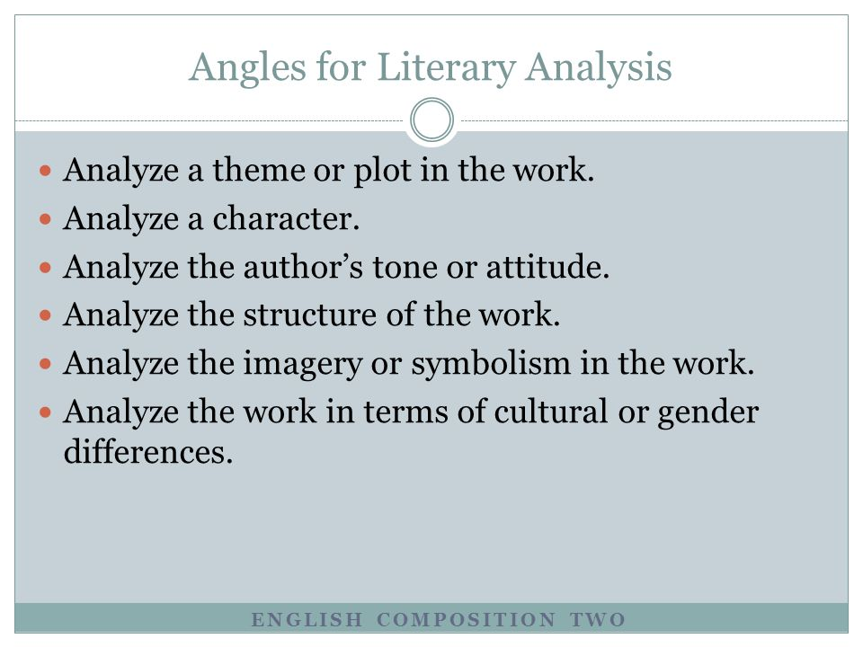 Literature- hw to write and analyze?