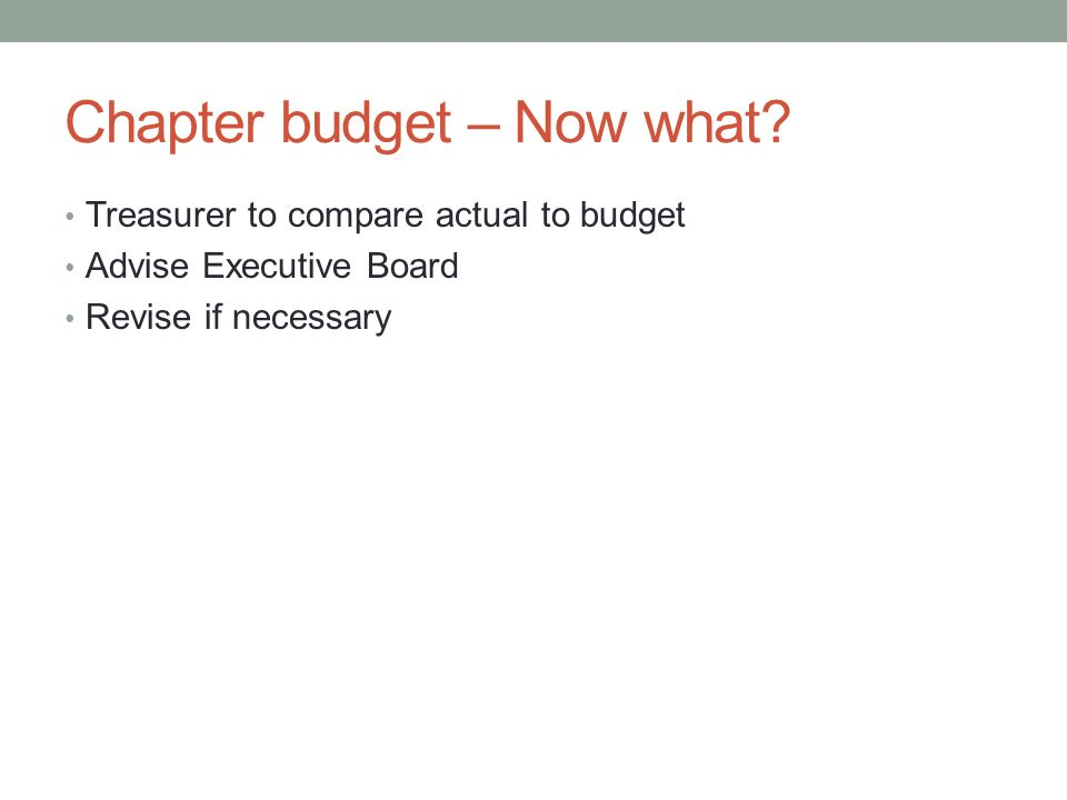 Chapter budget – Now what.