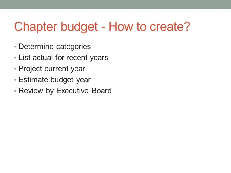 Chapter budget - How to create.