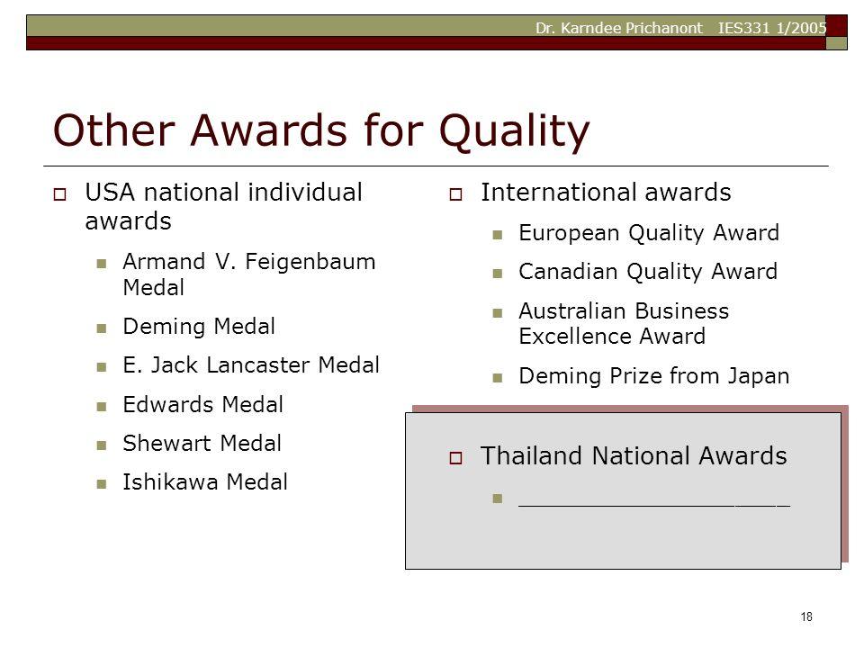 Dr. Karndee Prichanont IES331 1/2005 18 Other Awards for Quality  USA national individual awards Armand V. Feigenbaum Medal Deming Medal E. Jack Lanc