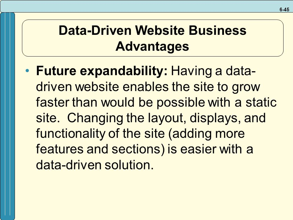 6-45 Data-Driven Website Business Advantages Future expandability: Having a data- driven website enables the site to grow faster than would be possible with a static site.