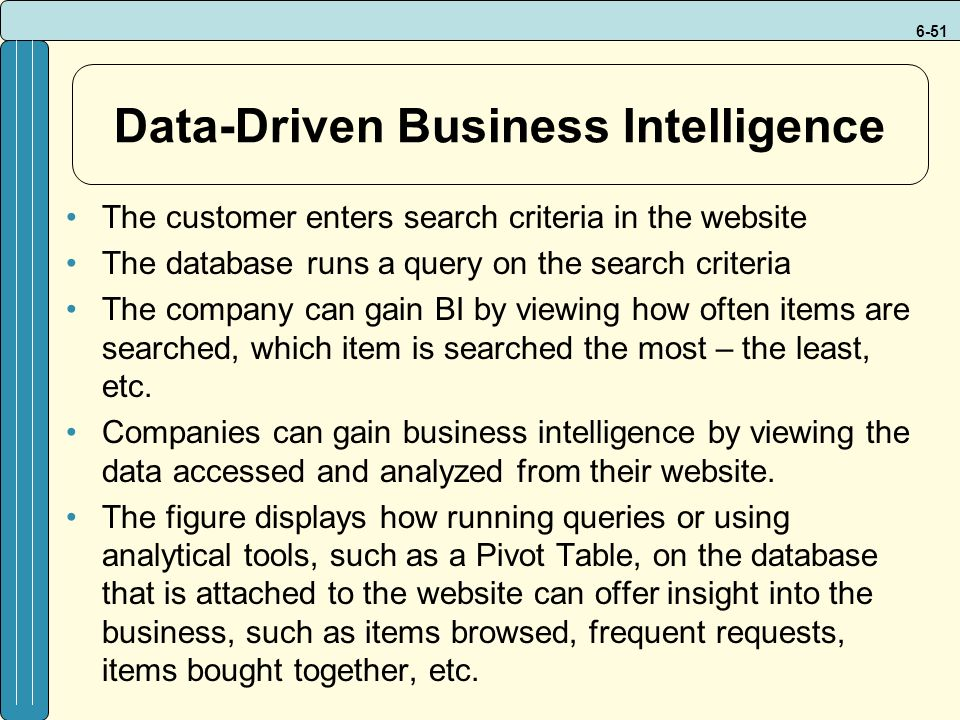 6-51 Data-Driven Business Intelligence The customer enters search criteria in the website The database runs a query on the search criteria The company can gain BI by viewing how often items are searched, which item is searched the most – the least, etc.