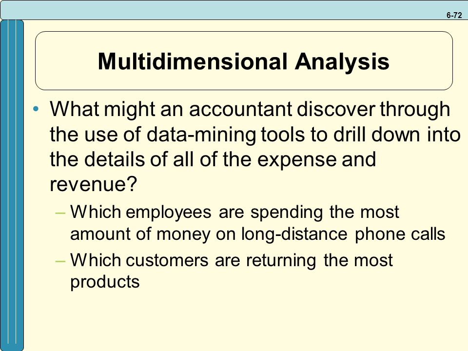 6-72 Multidimensional Analysis What might an accountant discover through the use of data-mining tools to drill down into the details of all of the expense and revenue.