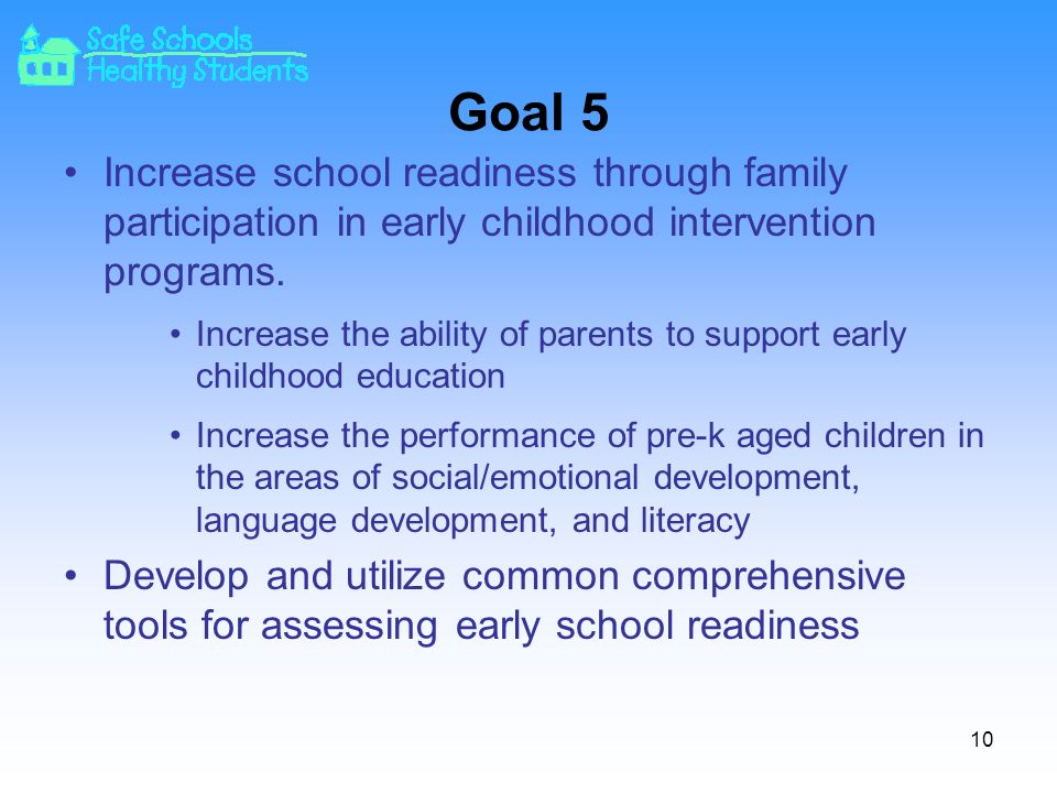Goal 5 Increase school readiness through family participation in early childhood intervention programs.