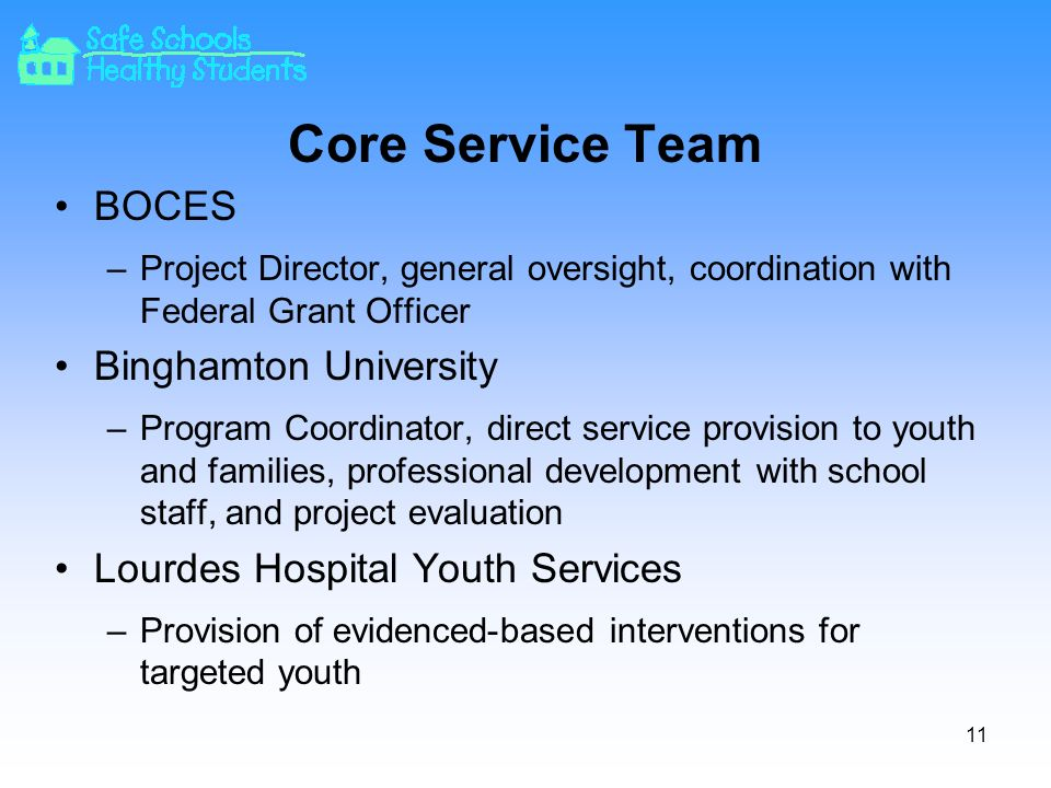 Core Service Team BOCES –Project Director, general oversight, coordination with Federal Grant Officer Binghamton University –Program Coordinator, direct service provision to youth and families, professional development with school staff, and project evaluation Lourdes Hospital Youth Services –Provision of evidenced-based interventions for targeted youth 11