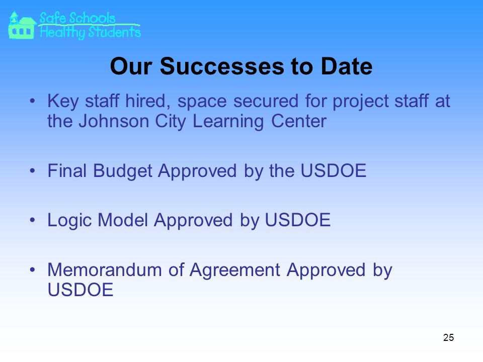 Our Successes to Date Key staff hired, space secured for project staff at the Johnson City Learning Center Final Budget Approved by the USDOE Logic Model Approved by USDOE Memorandum of Agreement Approved by USDOE 25