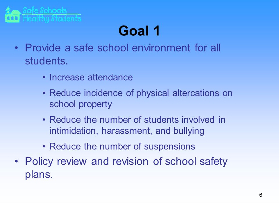 Goal 1 Provide a safe school environment for all students.