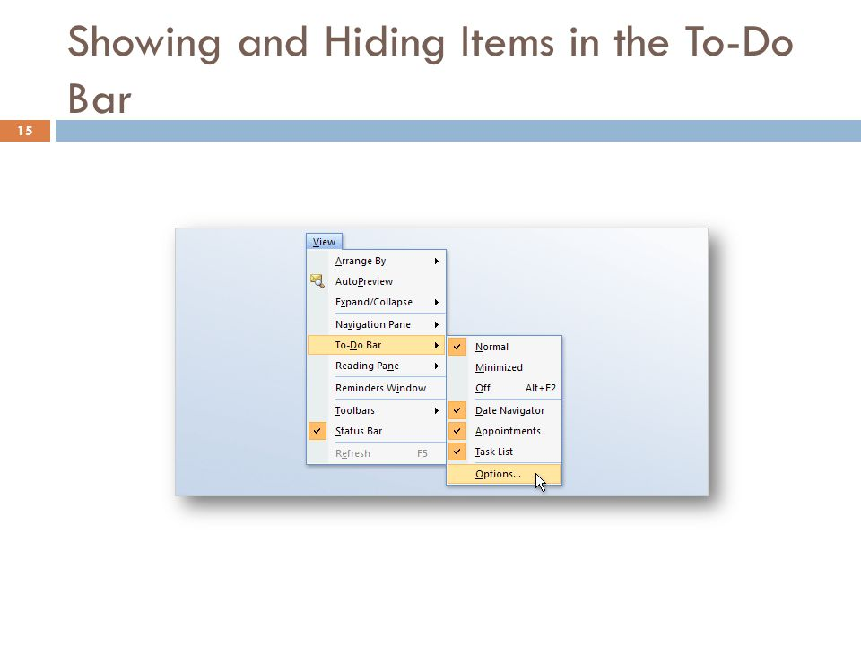 Showing and Hiding Items in the To-Do Bar 15