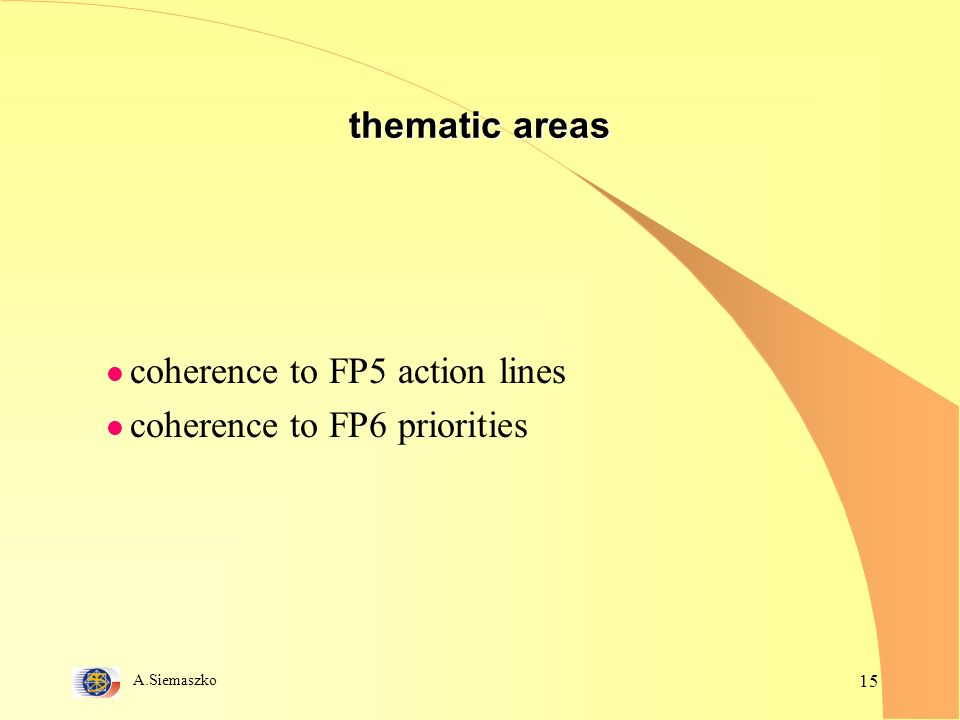 A.Siemaszko 15 thematic areas l coherence to FP5 action lines l coherence to FP6 priorities