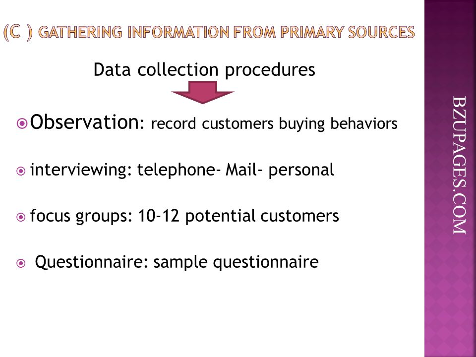 BZUPAGES.COM Data collection procedures  Observation : record customers buying behaviors  interviewing: telephone- Mail- personal  focus groups: potential customers  Questionnaire: sample questionnaire