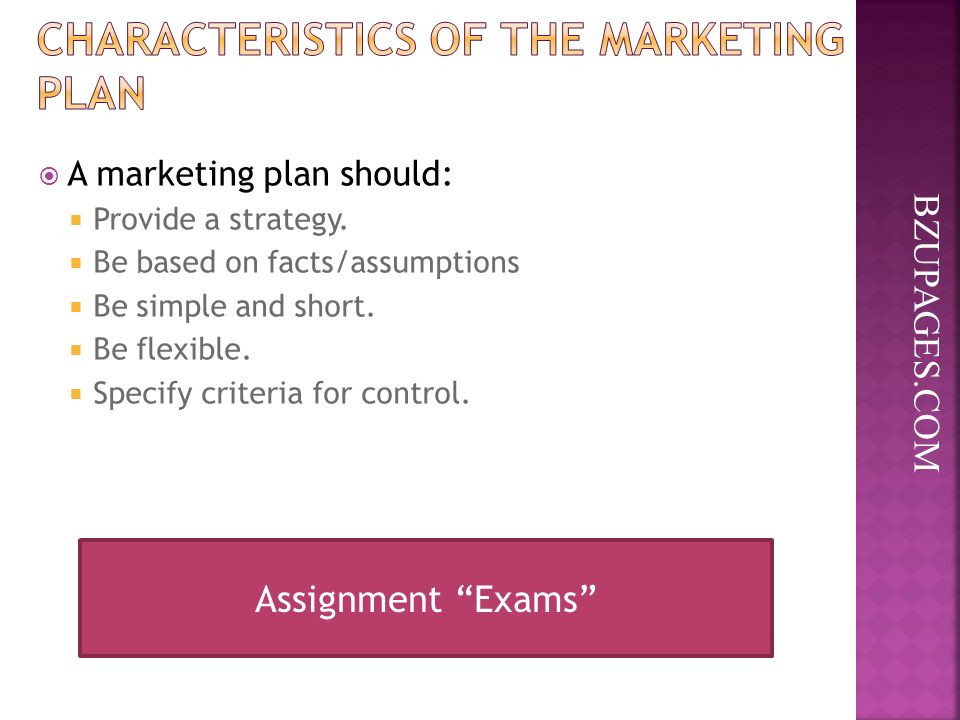 BZUPAGES.COM  A marketing plan should:  Provide a strategy.