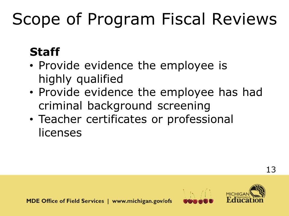 13 Scope of Program Fiscal Reviews Staff Provide evidence the employee is highly qualified Provide evidence the employee has had criminal background screening Teacher certificates or professional licenses