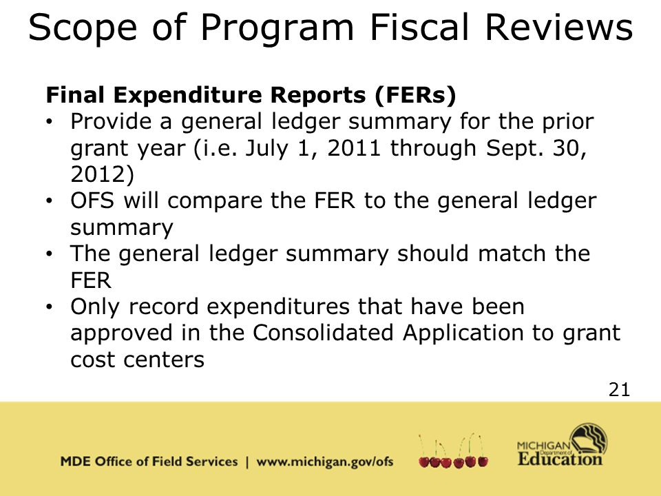 21 Scope of Program Fiscal Reviews Final Expenditure Reports (FERs) Provide a general ledger summary for the prior grant year (i.e.