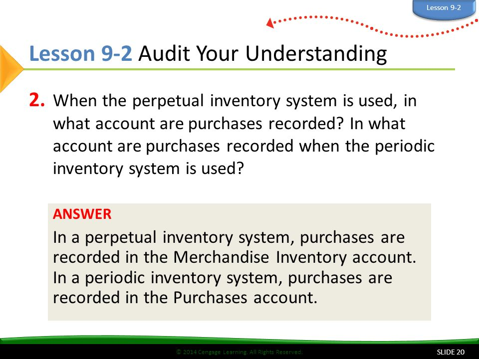 © 2014 Cengage Learning. All Rights Reserved. Lesson 9-2 Audit Your Understanding 2.