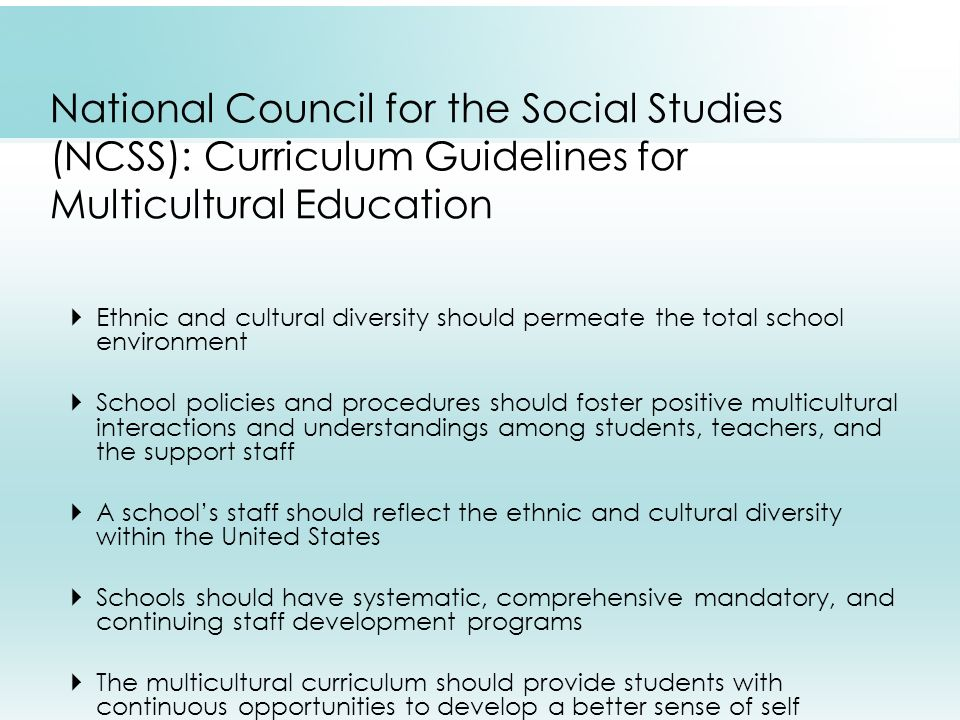  Ethnic and cultural diversity should permeate the total school environment  School policies and procedures should foster positive multicultural interactions and understandings among students, teachers, and the support staff  A school's staff should reflect the ethnic and cultural diversity within the United States  Schools should have systematic, comprehensive mandatory, and continuing staff development programs  The multicultural curriculum should provide students with continuous opportunities to develop a better sense of self National Council for the Social Studies (NCSS): Curriculum Guidelines for Multicultural Education