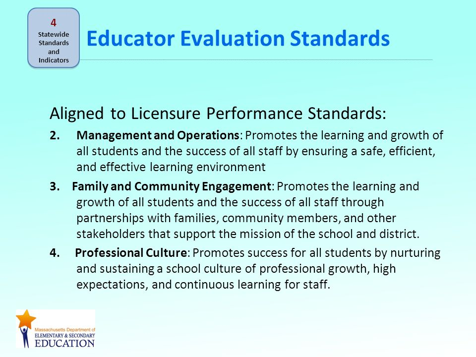 Educator Evaluation Standards Aligned to Licensure Performance Standards: 2.Management and Operations: Promotes the learning and growth of all students and the success of all staff by ensuring a safe, efficient, and effective learning environment 3.