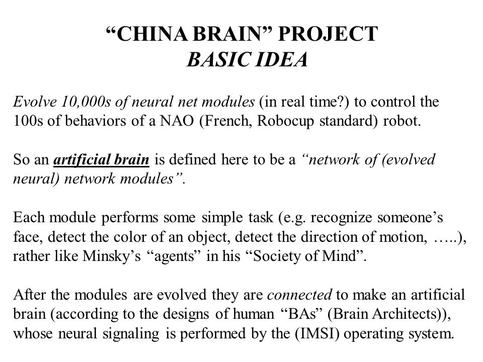 CHINA BRAIN PROJECT BASIC IDEA Evolve 10,000s of neural net modules (in real time ) to control the 100s of behaviors of a NAO (French, Robocup standard) robot.