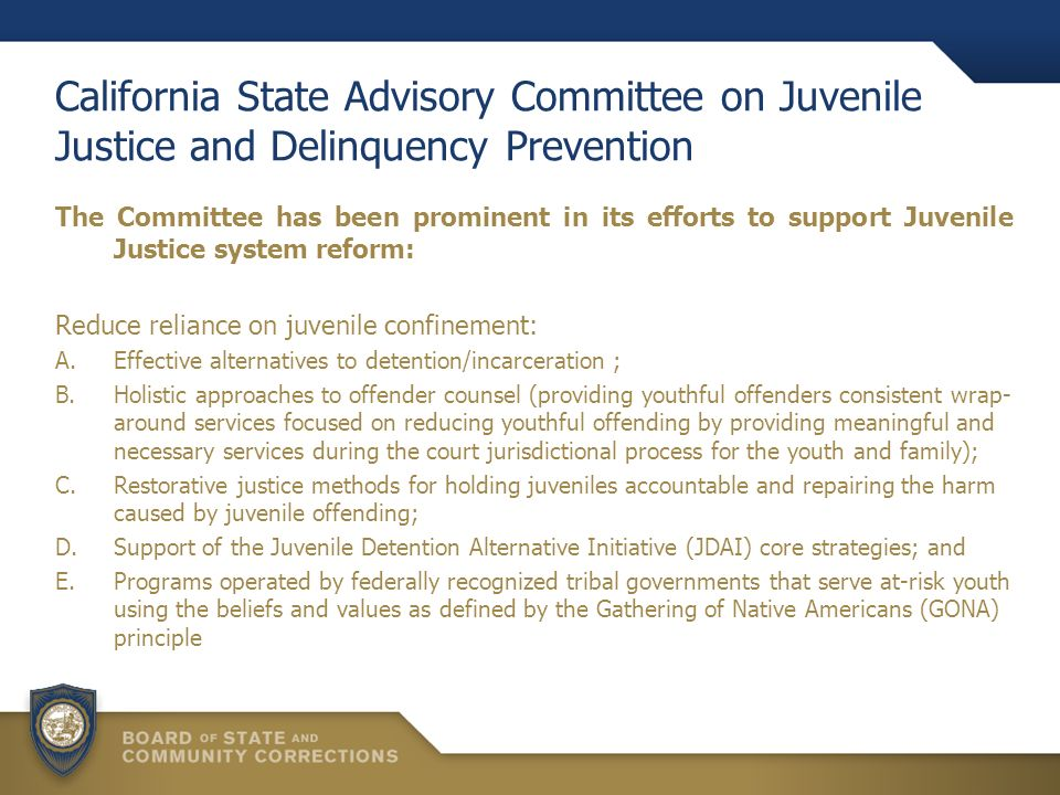 California State Advisory Committee on Juvenile Justice and Delinquency Prevention The Committee has been prominent in its efforts to support Juvenile Justice system reform: Reduce reliance on juvenile confinement: A.Effective alternatives to detention/incarceration ; B.Holistic approaches to offender counsel (providing youthful offenders consistent wrap- around services focused on reducing youthful offending by providing meaningful and necessary services during the court jurisdictional process for the youth and family); C.Restorative justice methods for holding juveniles accountable and repairing the harm caused by juvenile offending; D.Support of the Juvenile Detention Alternative Initiative (JDAI) core strategies; and E.Programs operated by federally recognized tribal governments that serve at-risk youth using the beliefs and values as defined by the Gathering of Native Americans (GONA) principle