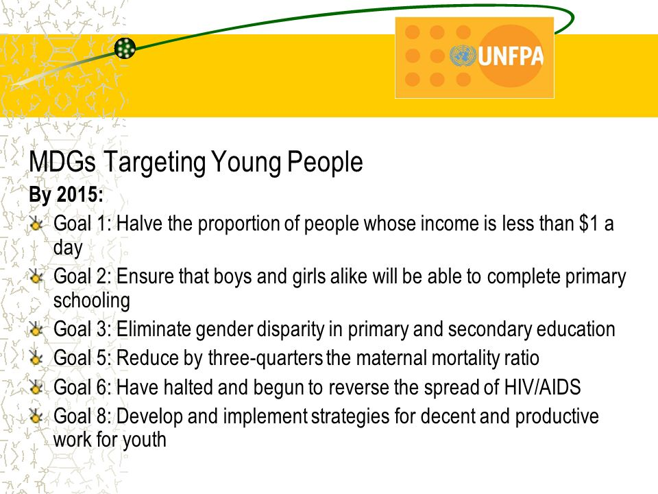 MDGs Targeting Young People By 2015: Goal 1: Halve the proportion of people whose income is less than $1 a day Goal 2: Ensure that boys and girls alike will be able to complete primary schooling Goal 3: Eliminate gender disparity in primary and secondary education Goal 5: Reduce by three-quarters the maternal mortality ratio Goal 6: Have halted and begun to reverse the spread of HIV/AIDS Goal 8: Develop and implement strategies for decent and productive work for youth