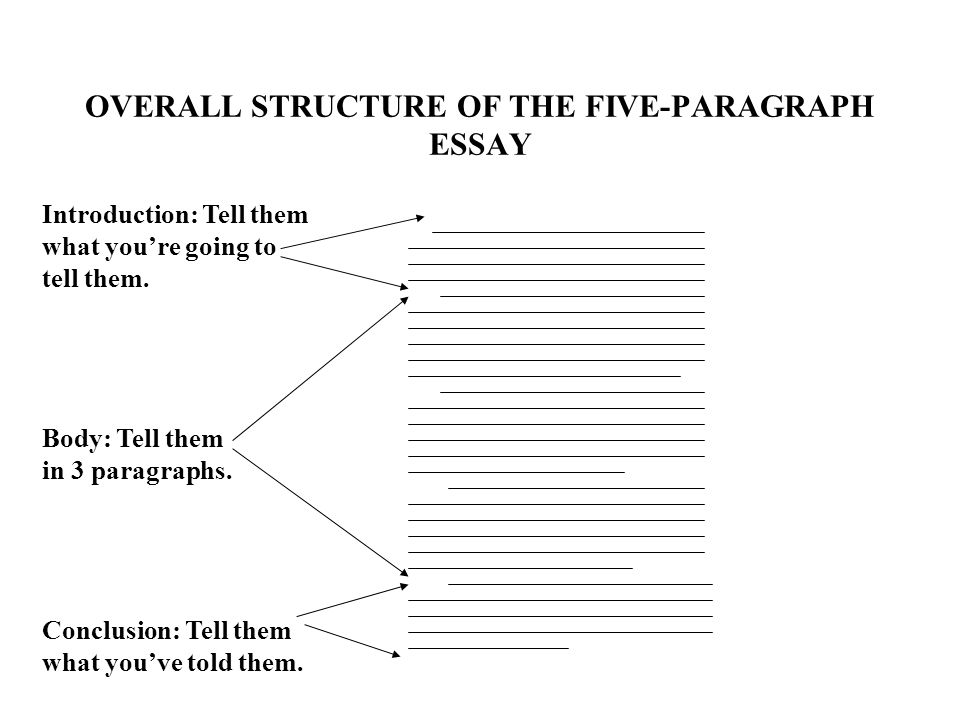 the traditional five paragraph essay the three main parts  overall structure of the five paragraph essay introduction tell them what you re