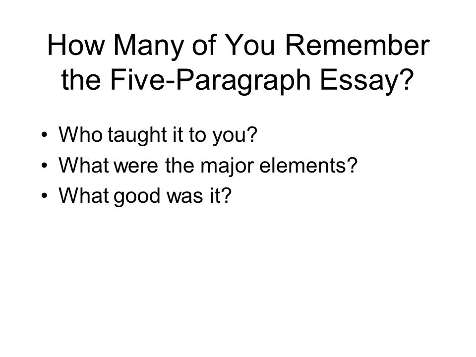 essay five paragraph teaching The writing recipe: essay structure for ells grades 6-8 / ela / ell ccss: elaw81 elasl81 embed video related videos lesson idea asking and answering.
