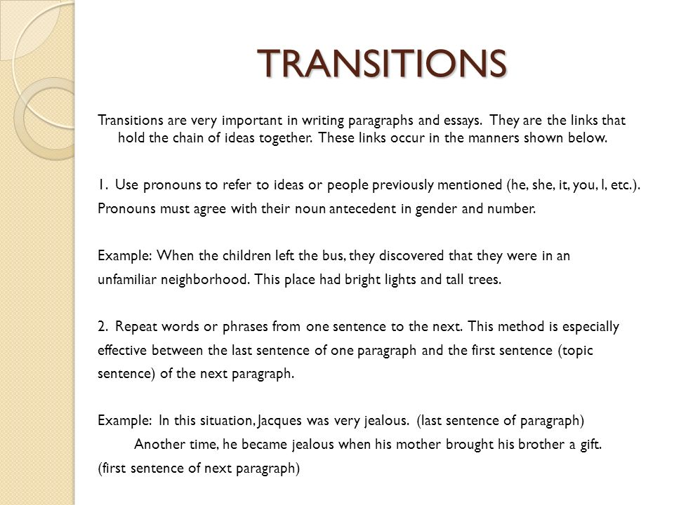transitions in an essay co transitions