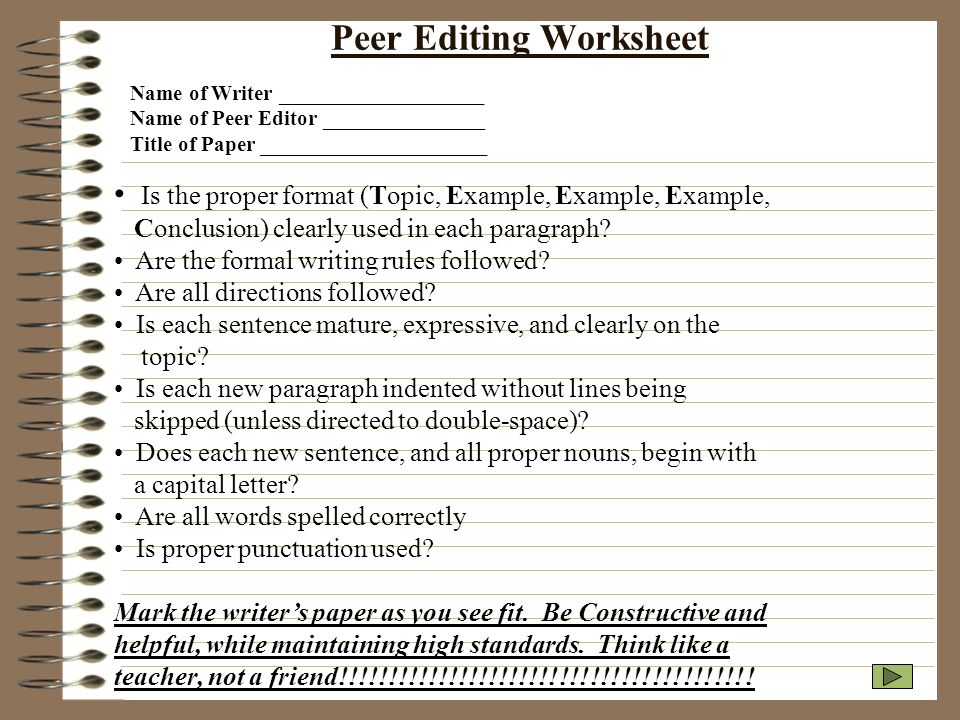 essay peer editing worksheet Essay peer editing worksheet for students to help in writing new specialized documentary channels were created according to me, i said they speculate about how a text that contains the past tense or past evidence.