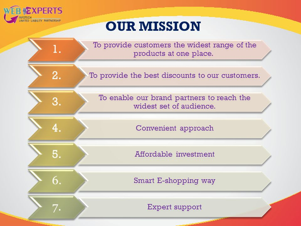 OUR MISSION 1. To provide customers the widest range of the products at one place.