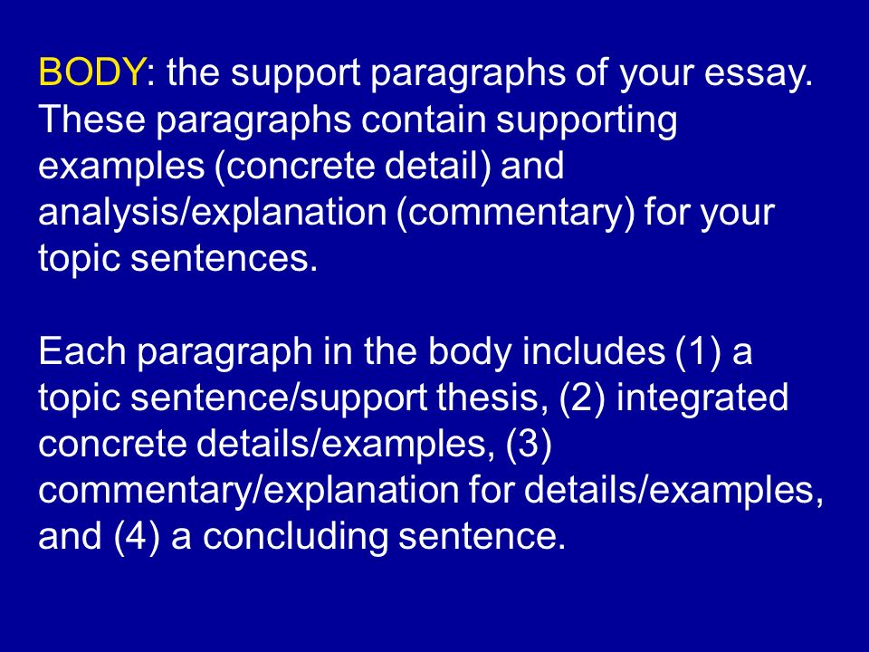 concrete details in essay A concrete detail is a piece of evidence, usually a direct quotation, that is taken from the story/poem in order to prove the idea proposed in the paragraph's topic sentence.