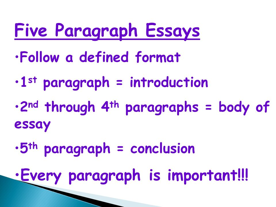 how to write a five paragraph essay five paragraph essays follow  2 five paragraph essays follow a defined format 1 st paragraph introduction 2 nd through 4 th paragraphs body of essay 5 th paragraph conclusion every
