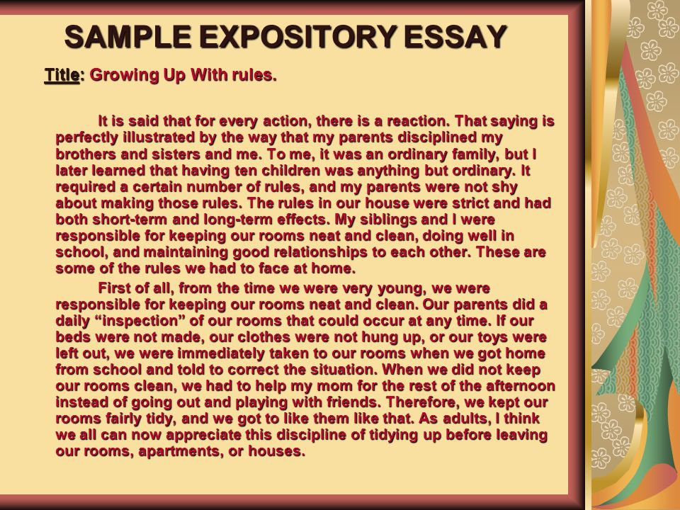 expository essay writing rules A common method for writing an expository essay is the five-paragraph approach this is, however, by no means the only formula for writing such essays.