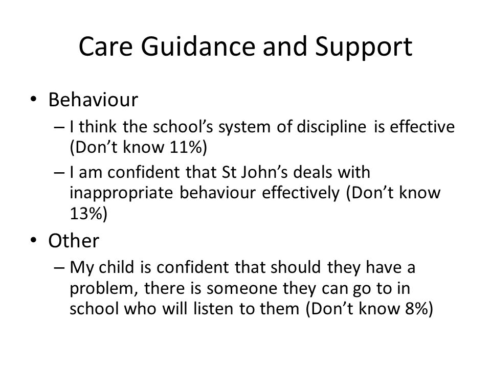 Care Guidance and Support Behaviour – I think the school's system of discipline is effective (Don't know 11%) – I am confident that St John's deals with inappropriate behaviour effectively (Don't know 13%) Other – My child is confident that should they have a problem, there is someone they can go to in school who will listen to them (Don't know 8%)