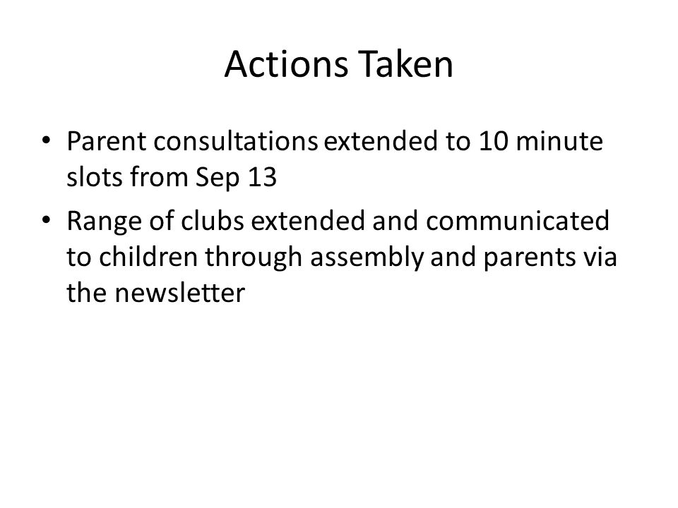 Actions Taken Parent consultations extended to 10 minute slots from Sep 13 Range of clubs extended and communicated to children through assembly and parents via the newsletter