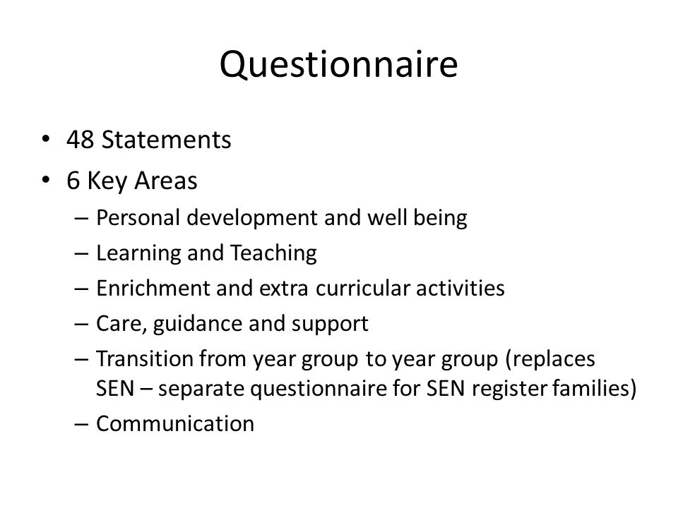 Questionnaire 48 Statements 6 Key Areas – Personal development and well being – Learning and Teaching – Enrichment and extra curricular activities – Care, guidance and support – Transition from year group to year group (replaces SEN – separate questionnaire for SEN register families) – Communication