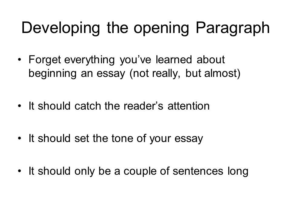 beginning essay words