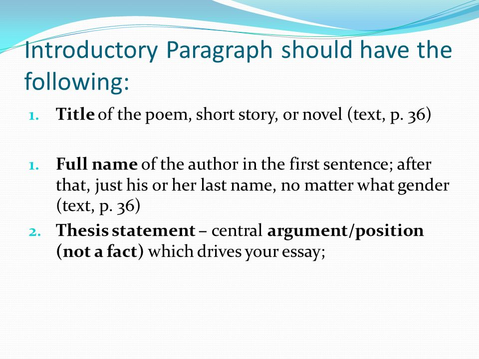 introductory paragraph should have the following title of the  2 introductory