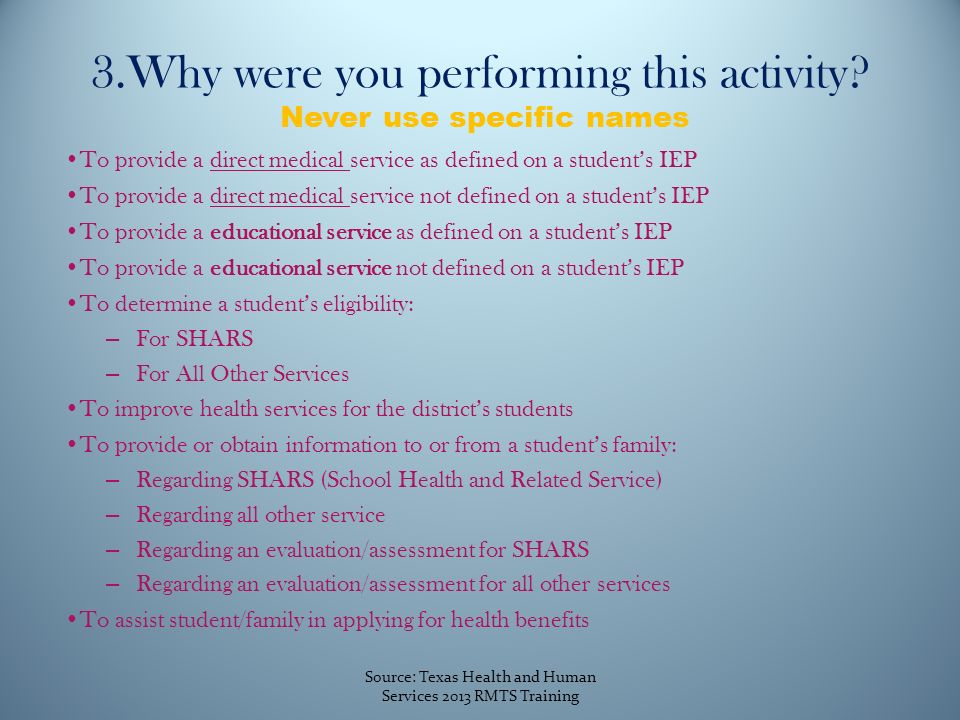 3.Why were you performing this activity.
