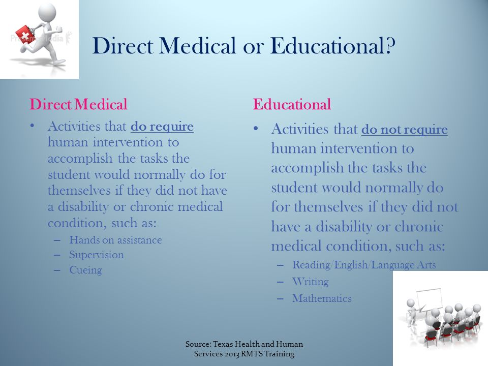 Direct MedicalEducational Activities that do require human intervention to accomplish the tasks the student would normally do for themselves if they did not have a disability or chronic medical condition, such as: – Hands on assistance – Supervision – Cueing Activities that do not require human intervention to accomplish the tasks the student would normally do for themselves if they did not have a disability or chronic medical condition, such as: – Reading/English/Language Arts – Writing – Mathematics Direct Medical or Educational.