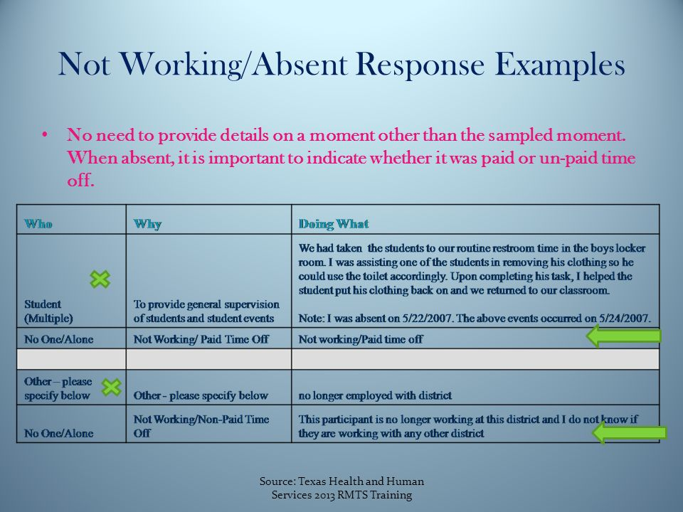 Not Working/Absent Response Examples No need to provide details on a moment other than the sampled moment.