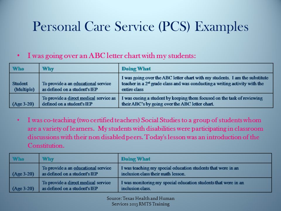 Personal Care Service (PCS) Examples I was going over an ABC letter chart with my students: I was co-teaching (two certified teachers) Social Studies to a group of students whom are a variety of learners.