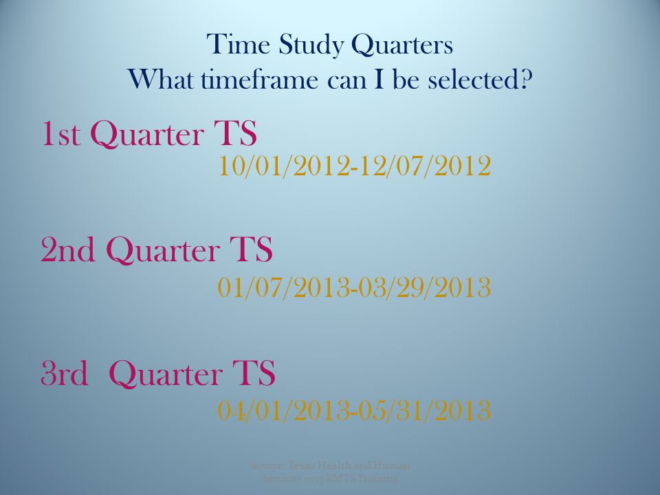 Time Study Quarters What timeframe can I be selected.